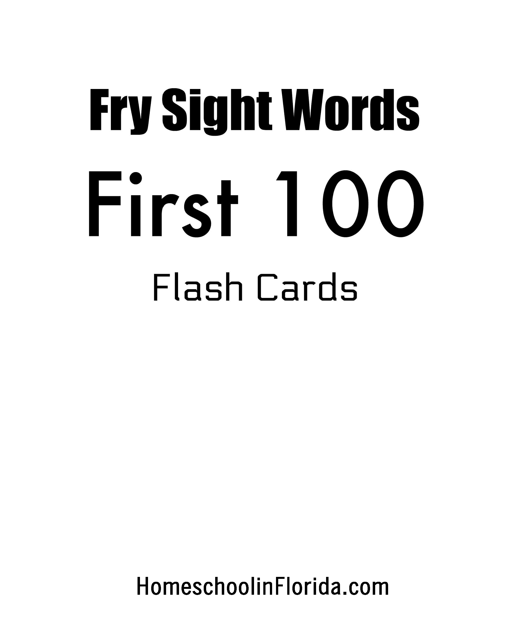 Fry sight words first 100 flash cards
