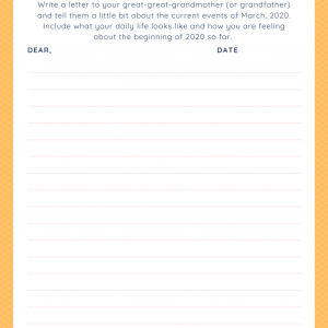 March 2020 journal prompt for kids