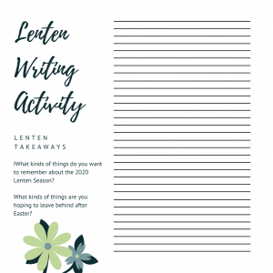 Lenten Journal Activity