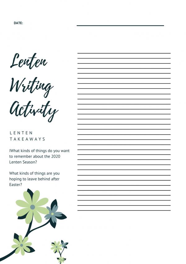 Lenten Journal Activity