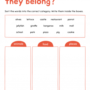 early literacy word sort printable page